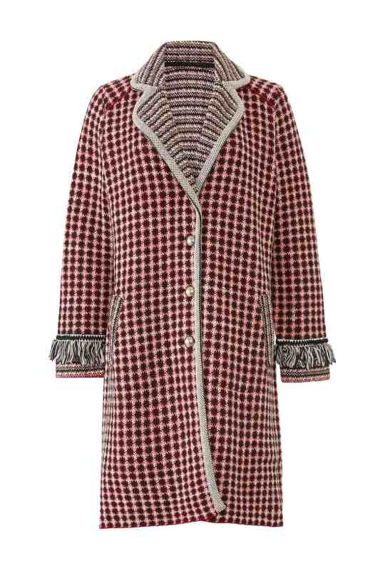 aldomartins geo graphic tweed fringe coat from rent the runway statement outfit