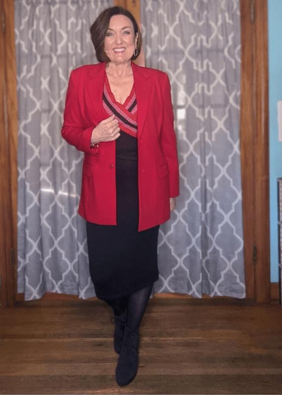 wear to work sweater dress outfit with red boyfriend blazer