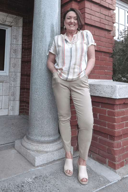 Linen striped knot tie blouse with khaki pull on ankle work pants.  Summer work wear outfit idea.