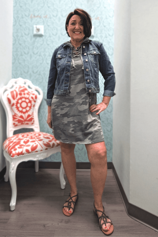 Camo hooded sweatshirt dress with blue jean jacket outfit