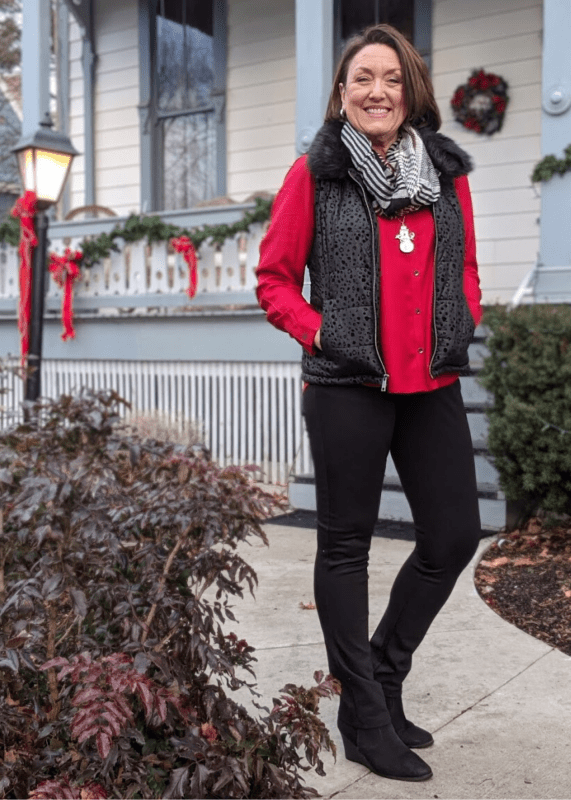 Flocked leopard print vest with removable faux fur collar was the PERFECT outerwear for shopping all day! Not too bulky but oh so cute! Dress it up with a holiday red blouse and plaid infinity scarf!