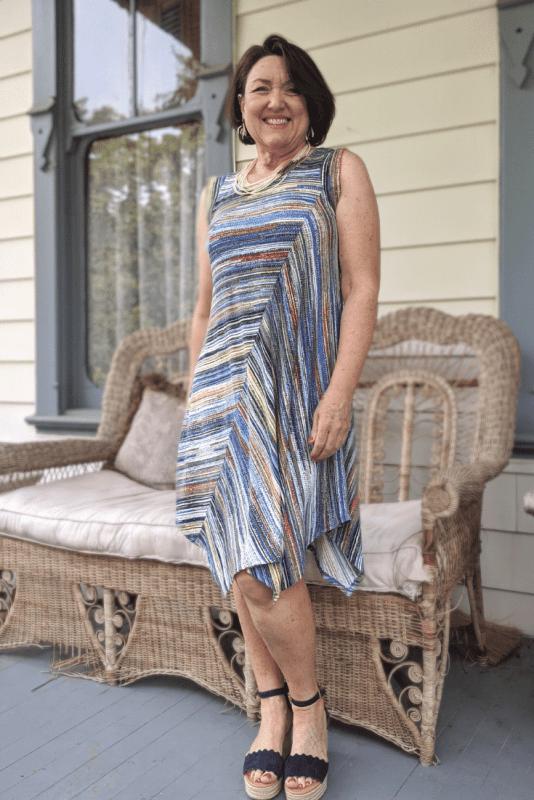 Striped knit sleeveless dress for Summer.