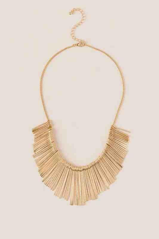 Francesca's rebecca fringe gold sandblasted statement necklace