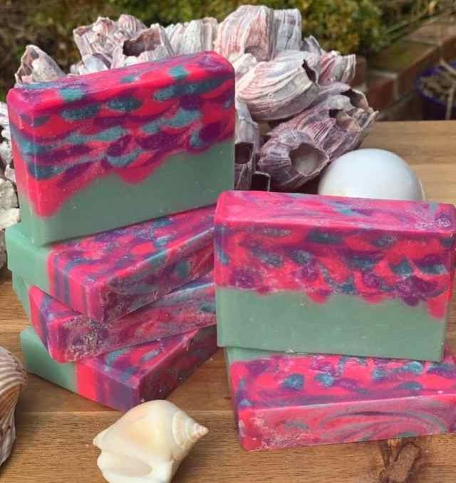 mermaid escape tropical fragrance shea butter coconut oil handmade soap