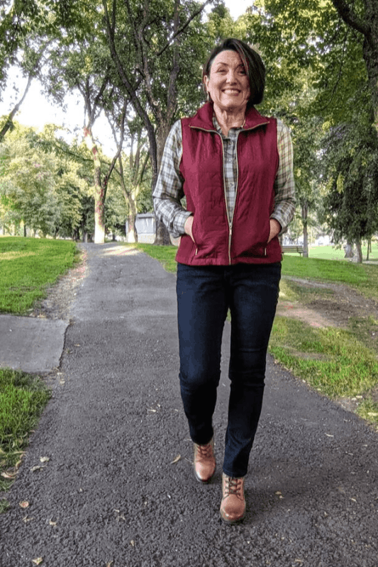 A Quilted Vest zipped up over a Drapey Plaid Shirt is great to wear when you are out for a walk around the neighborhood or running errands.