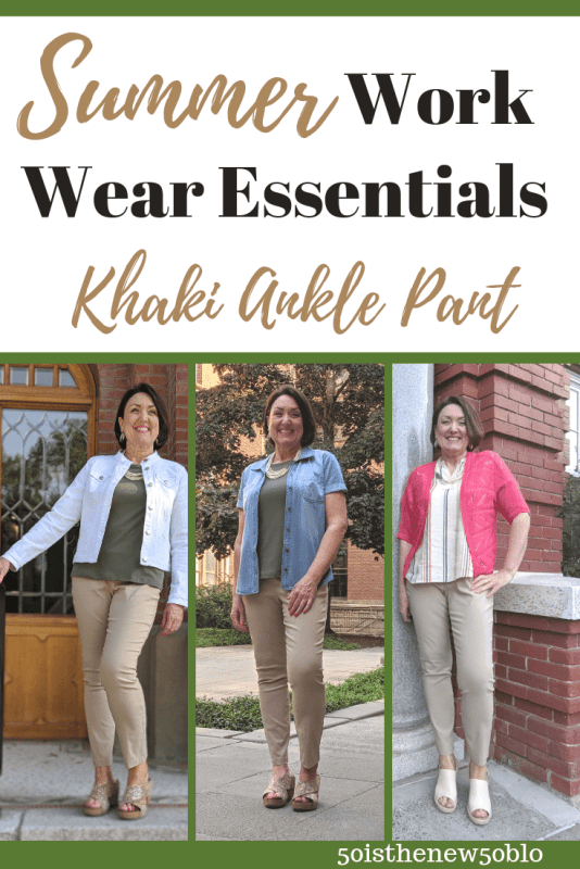 Summer work wear essential outfit ideas with khaki ankle pants.