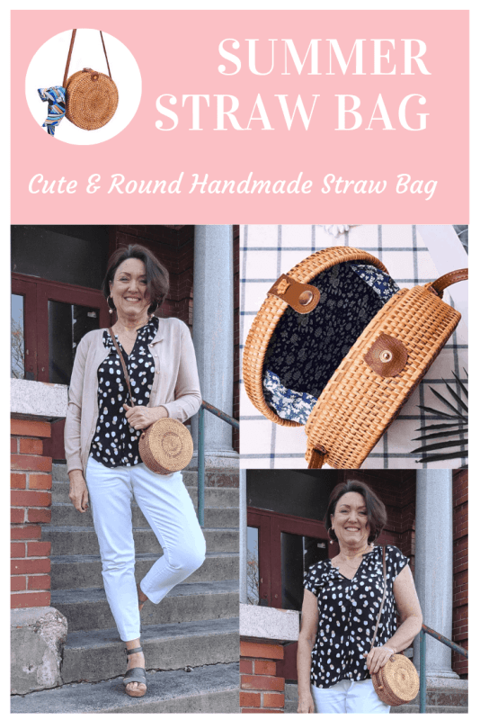 This cute and round handmade straw bag is perfect for everyday.  Just the right size to hold all your daily essentials. #strawbag #summerfashion