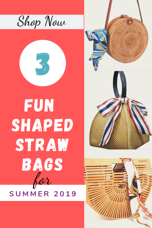 Three fun shaped straw bags for Summer 2019 outfits.