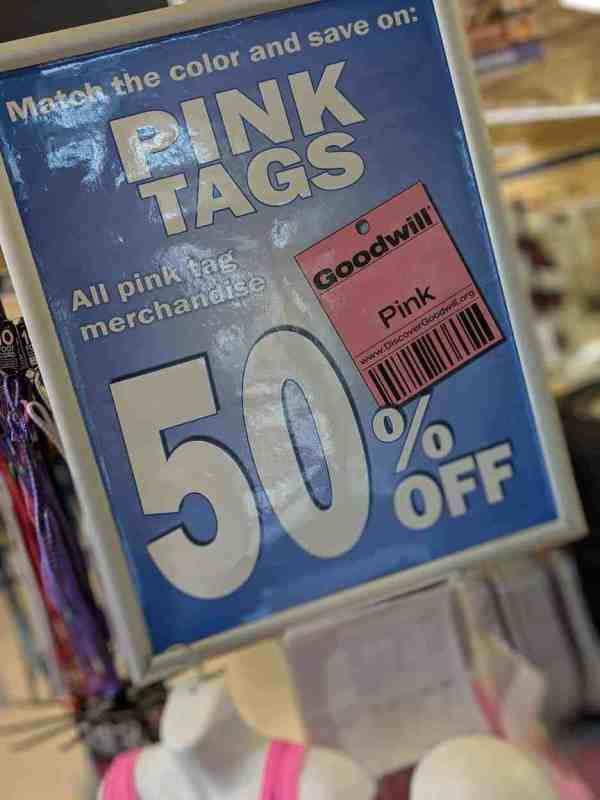 goodwill 50% off merchandise tags and tips
