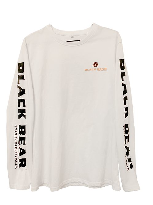 Black Bear Long Sleeve Shirt White