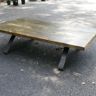Antique Oak and Leaf Spring Coffe Table