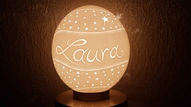 Tischleuchte, Tischlampe, personalisierbarer Lampenschirm, Geschenkidee, Designobjekt, angenehmes Licht