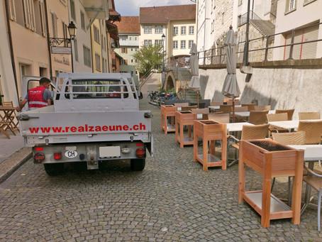 Hochbeete beim Restaurant Halden und Info Aarau