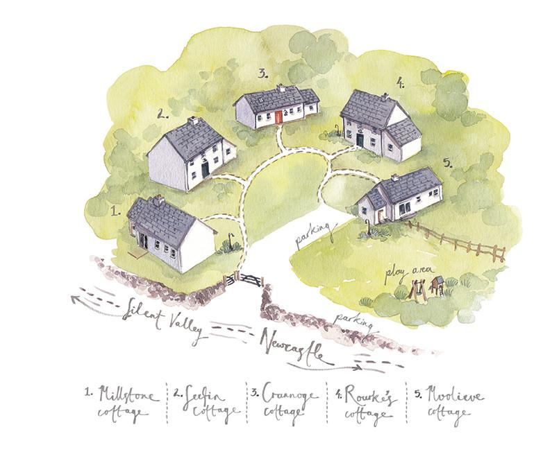Kribben Cottages Illustrated Map