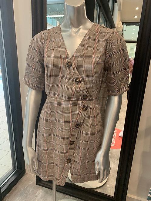 Woven plaid dress