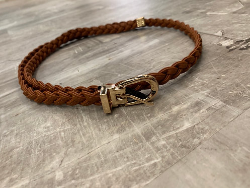 Thin brown braided belt