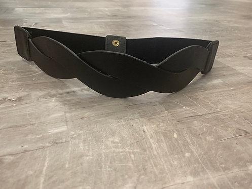 Black vegan leather twist belt