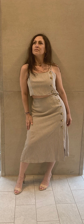 Stripe button down skirt