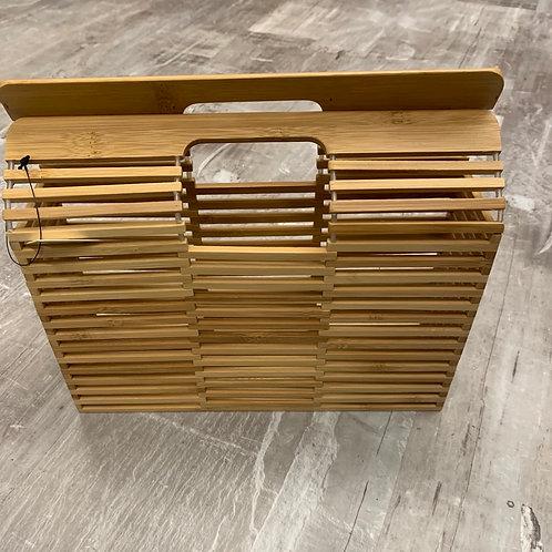Square wooden handbag