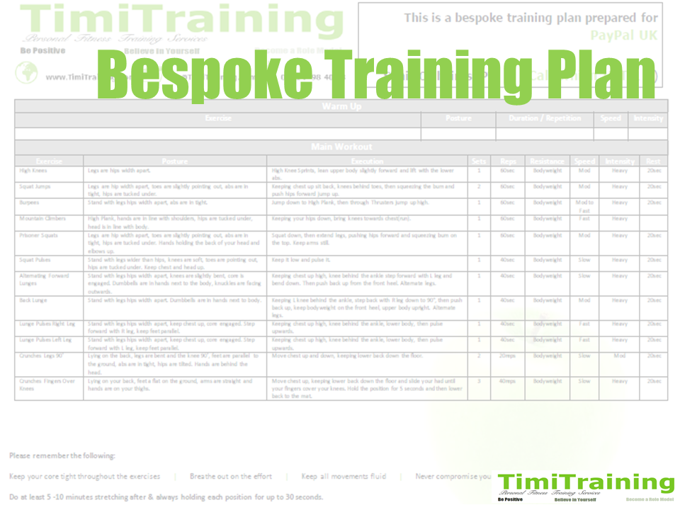 Bespoke Fitness Training Plan