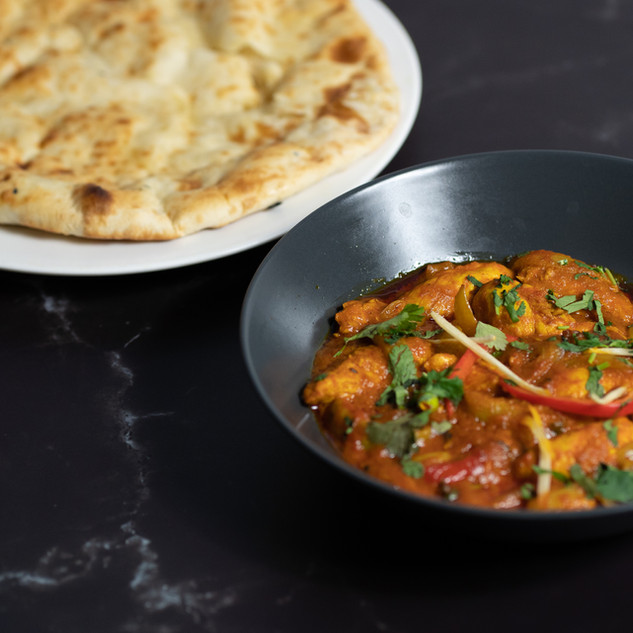 Chicken Jalfrezi and Naan