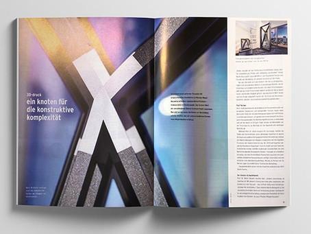 3D-printed facade knot featured in magazine fassadentechnik