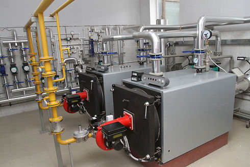 Two gas boilers in a modern boiler-house