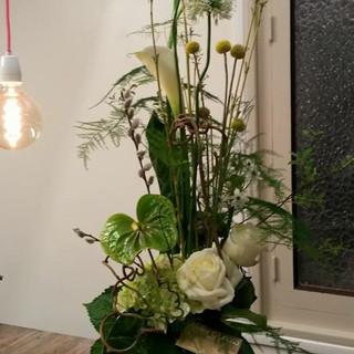 Bouquet hauteur blanc et vert