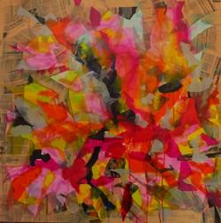2015-Sogno in rosso-100x100 cm. Collage su tela