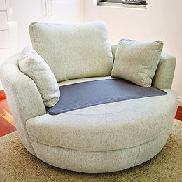 CHAIR PAD - QUILTED WITH BOUND EDGE - GREY