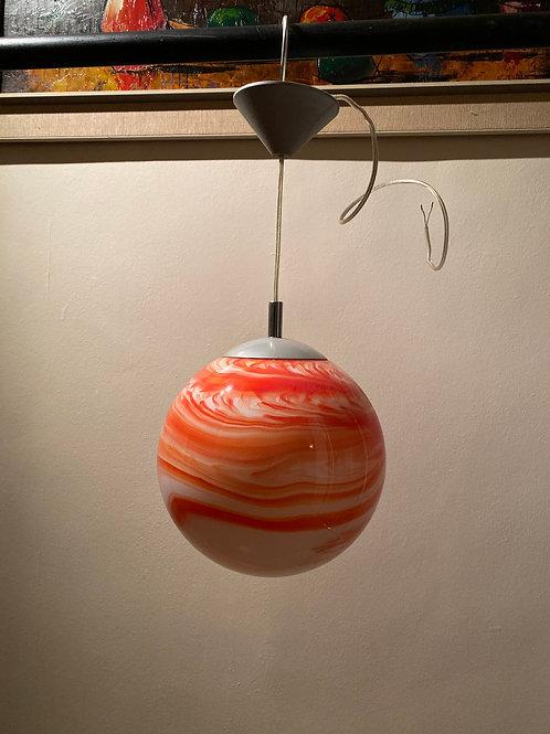 1990's Orange & White Glass Ball