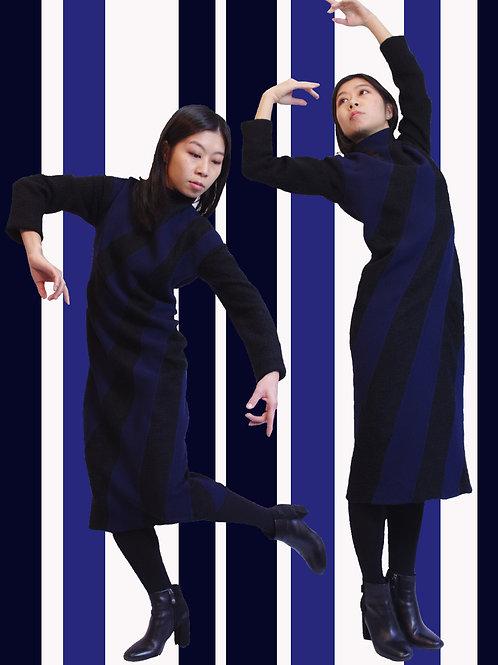 Two types of wool switchingdress / 二種切替ウールの縦縞ワンピース