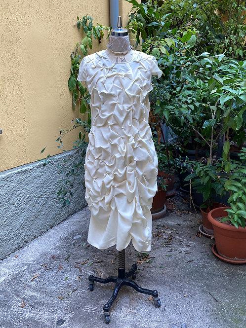 【Linen Manipulation Dress】リネン・ハンドデザインファブリックワンピース