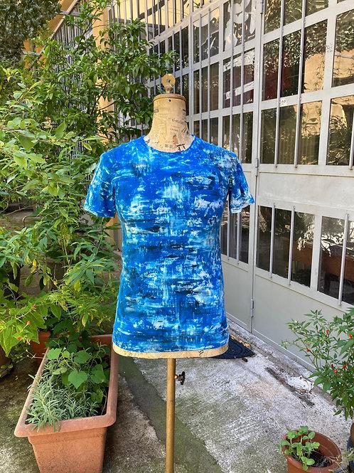 【Hand Printing】T-shirt (Blue)/ハンドプリントTシャツ(ブルー)