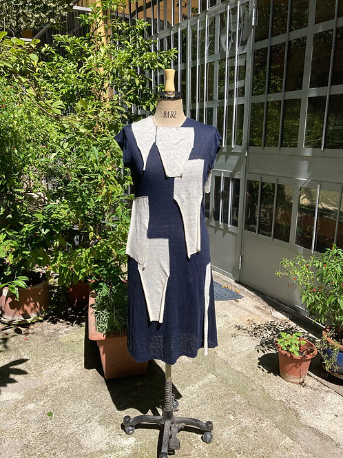 【Hand Stitching】Design Dress (Navy)/ハンドステッチデザインワンピース(ネイビー)