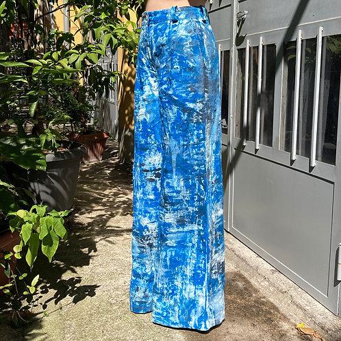 【Hand Printing】Wide Pants (Blue)/ハンドプリントワイドパンツ(ブルー)