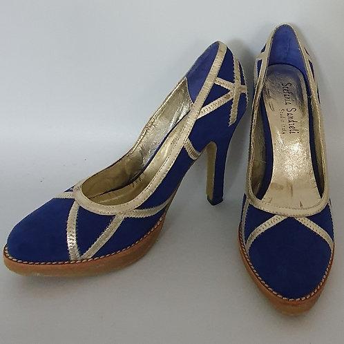 נעל עקב גבוהה - כחול זהב