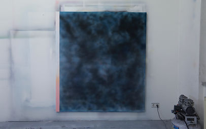 Clouds_Blue_blur by Zdenek Konvalina - Berlin artist painter, Acrylic and spray paint on canvas. German contemporary artists, czech painter, art to collect today. Inside the artsts studio