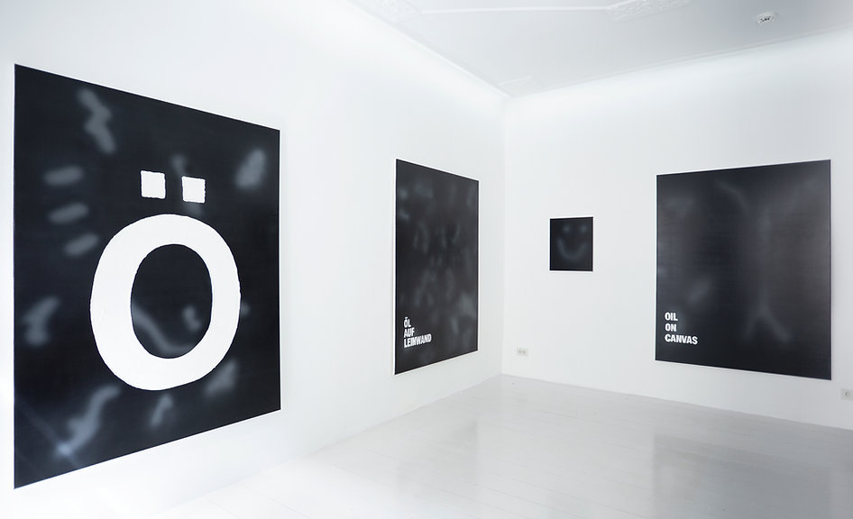 Zeit für Brot, installation view. Zdenek Konvalina | Artists positions. Solo exhibition, Artists Positions artist-run gallery, representing berlin artists. Oil on canvas series, spray paint and oil on canvas. Painting today.