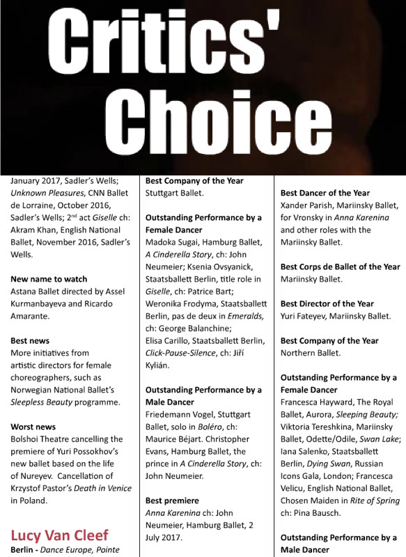 Honourable mention for Outstanding performance in Giselle in Dance Europe Critic's Choice.