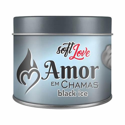 Vela Beijável Black Ice Amor Em Chamas 50g Soft Love