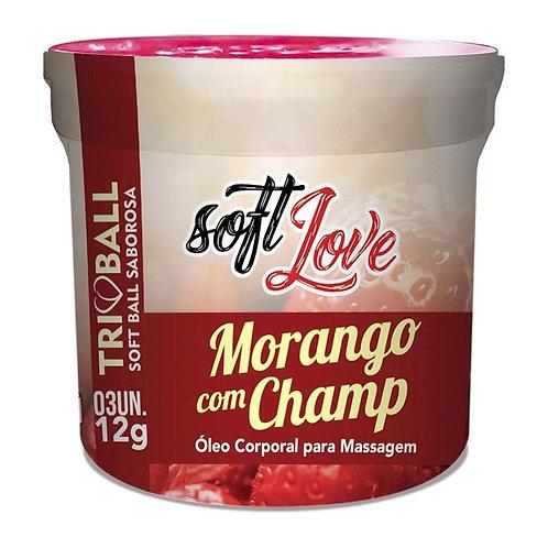 Triball Bolinha Morango Com Champanhe Beijável 12g 03 unidades Soft Love