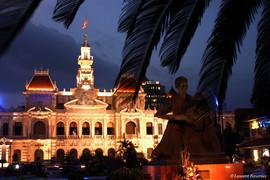 Saigon-hötel de ville & statue Hô-Chi-Mi
