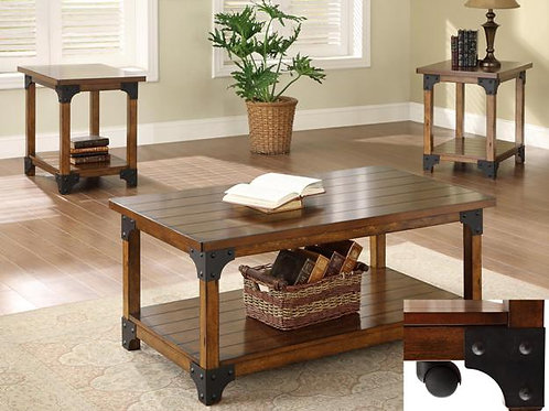 3PC WILLIAM Wood and Iron Table Set
