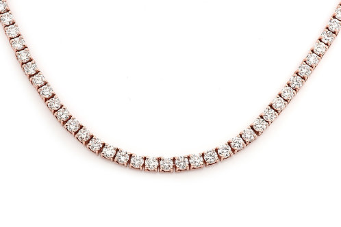 14 KT ROSE GOLD ROUND BRILLIANT-CUT 21.32 CTW  DIAMOND CHAIN