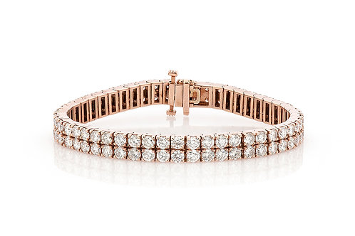 14 KT ROSE GOLD 15.71 CTW TWO ROW DIAMOND BRACELET