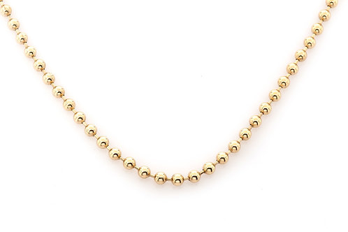 4.00 MM 14 KT YELLOW GOLD BEAD CHAIN