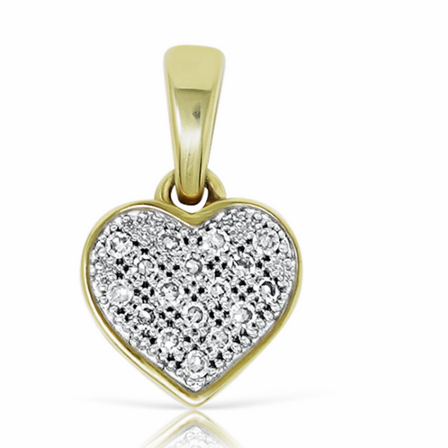 10K Y/G Love Heart Pendant 0.050ct With Chain
