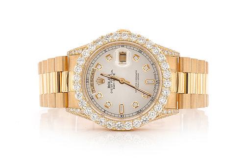 18 KT YELLOW GOLD 36 MM DAY DATE 7.19 CTW DIAMONDS CUSTOM DIA DIAL ROLEX WATCH