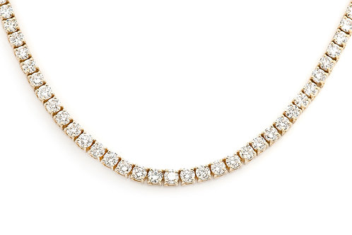 14 KT YELLOW GOLD ROUND BRILLIANT CUT 38.50 CTW  DIAMOND CHAIN